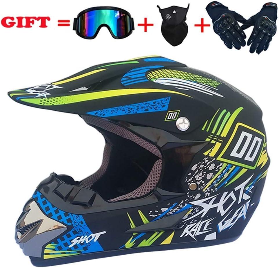 モトクロスクラッシュヘルメット、DOT認定大人用オートバイデュアルスポーツヘルメット、ATVクワッドATVマウンテンバイクオフロードヘルメットセット4、XL、M,大  大