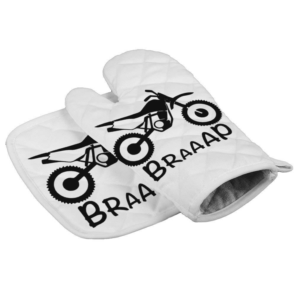 LijiahuaMitts Enduro Motocross Dirt Bike Braaap Heat Resistant Oven Mitts and Pot Holders,Safe Kitchen Cooking Baking Grilling