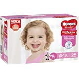 Huggies Ultra Dry Nappies, Girls, Size 5 Walker (13-18kg), 64 Pack
