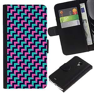 APlus Cases // Samsung Galaxy S4 Mini i9190 MINI VERSION! // Chevron trullo Rosa Negro Diseño Zig Zag // Cuero PU Delgado caso Billetera cubierta Shell Armor Funda Case Cover Wallet Credit Card