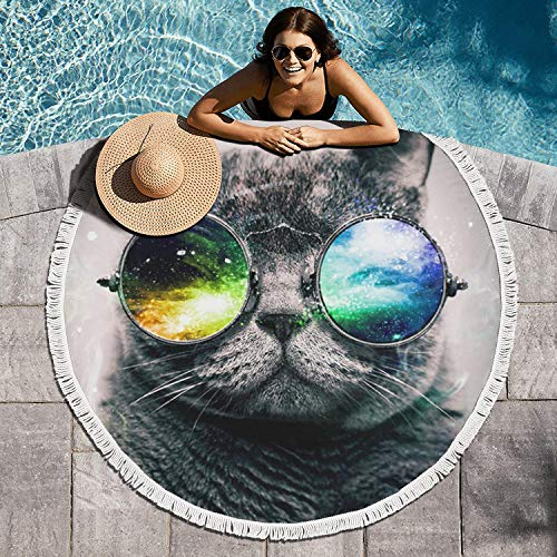 LONGUIRTEZ Galaxy cat with Glasses 60 Inch in Diameter Beach Towel Circular Beach Towel Blanket Tassels Ultra Style Picnic Table Cover Poolside Lounging Durable ()