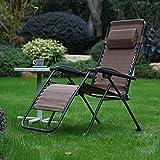 Respace Zero Gravity Lounge Chair Adjustable Reclining Chair Patio Outdoor Garden Brown