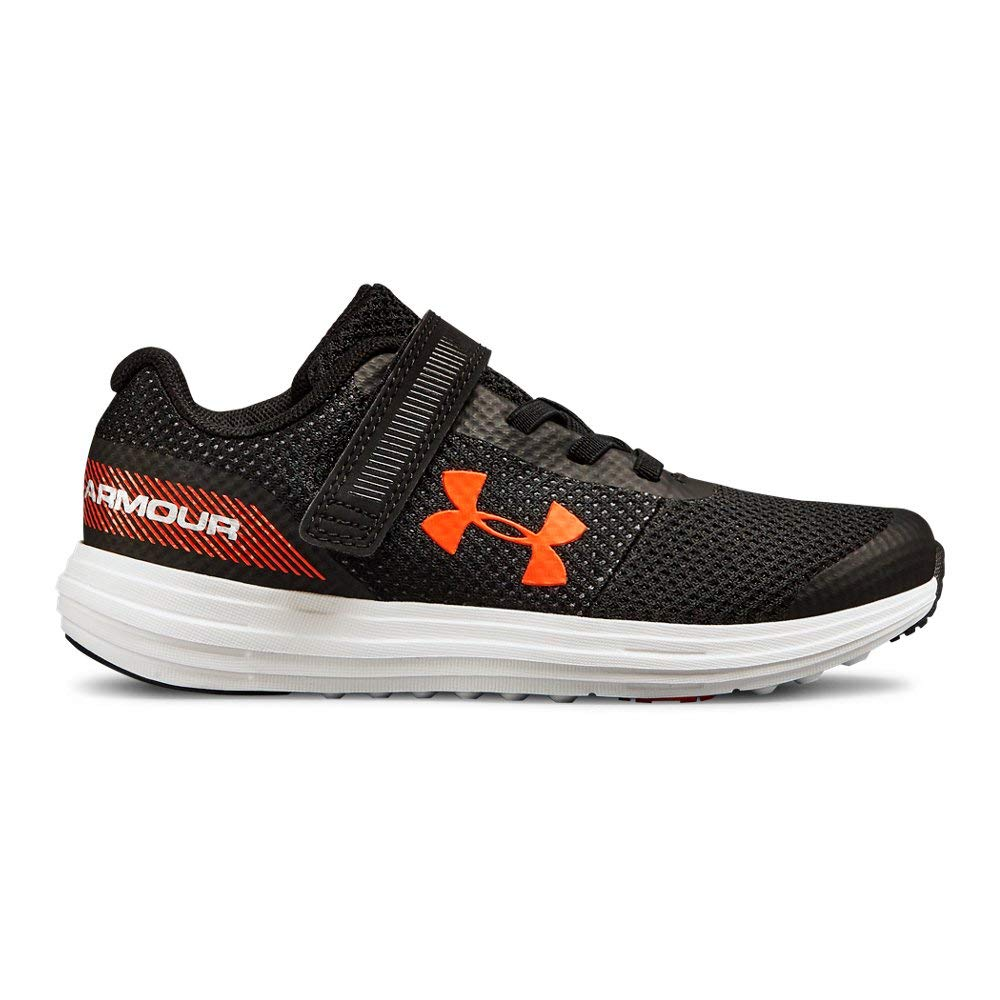 Under Armour Boys' Pre School Surge RN Alternate Closure Sneaker, Black (001)/White, 1