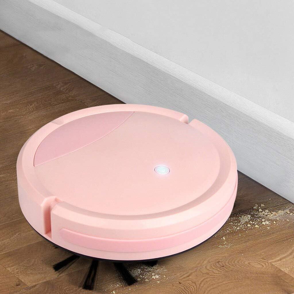 Jary Haute capacité Balayer Robot Multifonction Aspirateur Portable Home Petit Cleaner li (Color : White) Pink