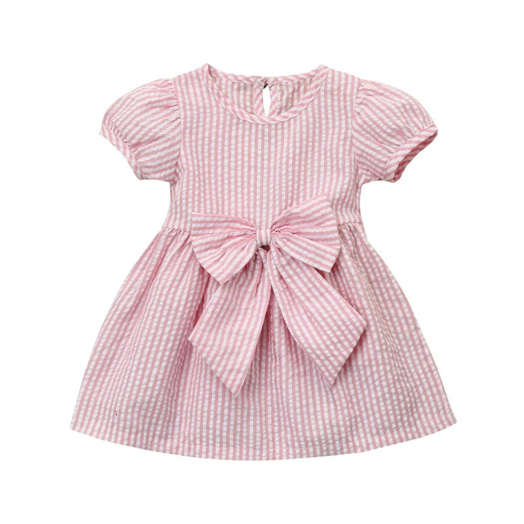 Wanshop Girl Dress, Fashion Baby Girls Infant Toddler Kids Clothes Stripe Bow Princess Outfits Dress for 0-24 Months