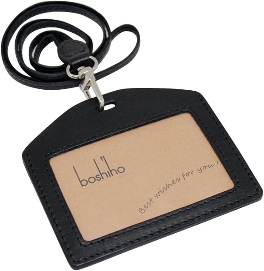 Boshiho Genuine Leather ID Card Badge Holder with Heavy Duty Lanyard Horizontal Style (Black)