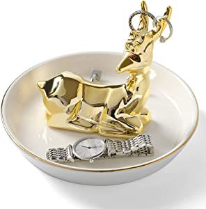 LUOYA Ceramic Deer Ring Holder with Derorative White Dish for Jewelry trays,Desktop Jewelry Display Organizer,Office & Home Decor,Wedding,Christmas Birthday Gifts for Mom Girlfriend-golden