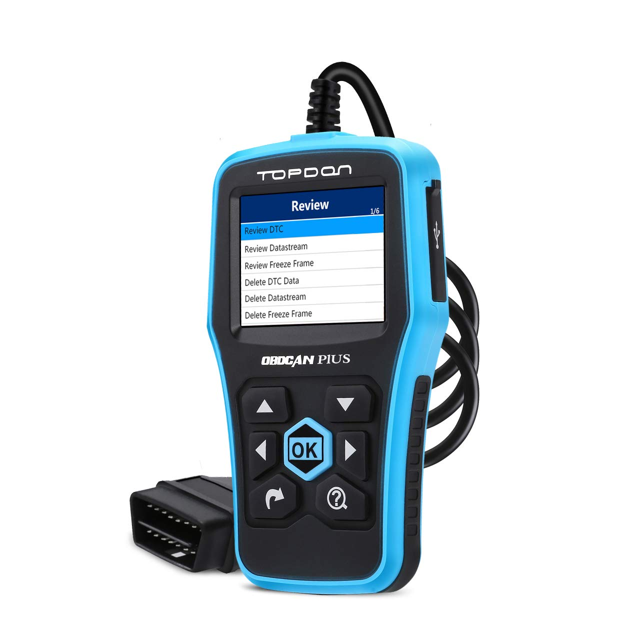 TT TOPDON OBD2 Scanner - CAN Car Code Reader, PLUS2.0 Professional Engine Fault Diagnostic Scanner with DTC Library to Turn Off CEL, Pass Smog Test for Home and Autoshop