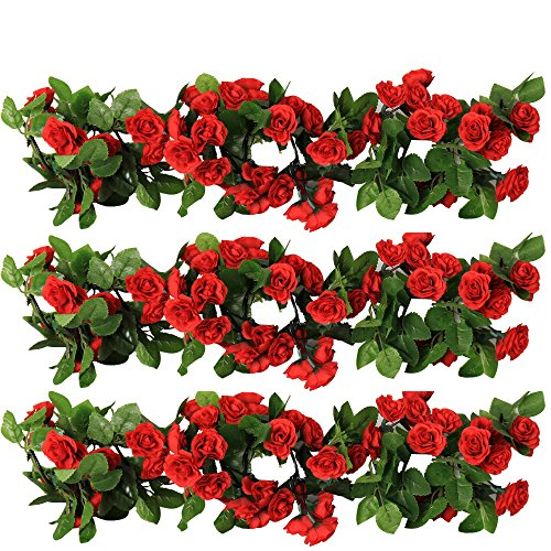 Y's Spring Blossoms 63 Inch Rose Garland Artificial Rose Vine with Green Leaves Flower Garland For Home Wedding Decor Pack of 3 (Dark Red)