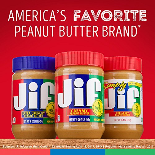 Jif Creamy Peanut Butter, 16 Ounces, 7g (7% DV) of Protein per Serving, Smooth, Creamy Texture, No Stir Peanut Butter 7