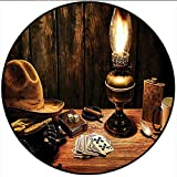 Short Plush Floor mat/Rug Mystic Night in Hotel Room Dallas with Lantern Nightstand Table and Poker Card Brown Non-Slip Machine Washable 55'' x 55'' Round