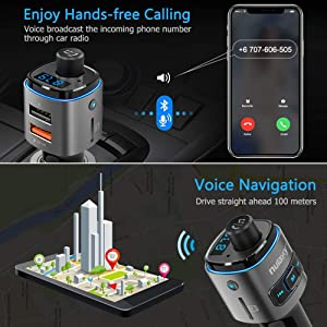 Nulaxy Bluetooth FM Transmitter for Car, 7 Color LED Backlit Bluetooth Car Adapter with QC3.0 Charging, Support Siri Google Assistant, USB Flash Drive, microSD Card, Handsfree Car Kit - NX09 Grey (Color: B-Grey)