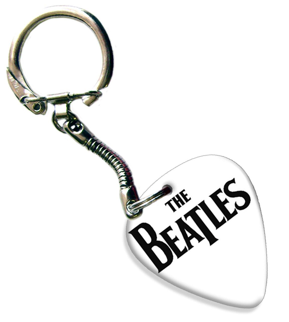 The Beatles logotipo blanco púa de guitarra Llavero: Amazon ...