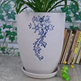 Ceramic Home/ Garden Modern Fashion Exquisite Round Flower Planter Pot with Saucer/ Tray Large and Tall