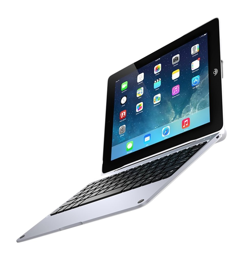 ClamCase Pro for iPad 2, 3, 4, Incipio ClamCase Pro Bluetooth Keyboard [100 Hour Playtime] for iPad 2, 3, 4 - White / Silver by Incipio