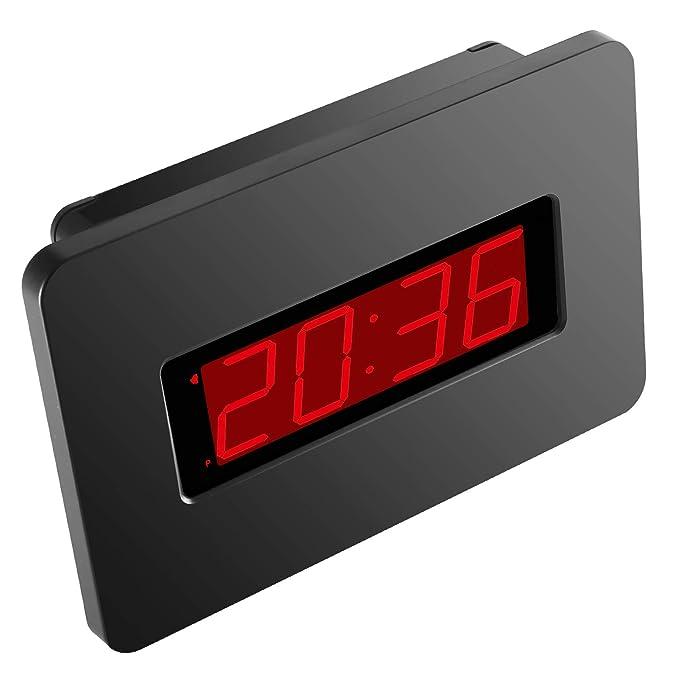 KWANWA Reloj de Pared Digital con Pilas Pantalla Grande Alarma Snooze Compatible con el Dormitorio, la Oficina, Puede Poner en la Mesa y la Mesa Auxiliar, ...
