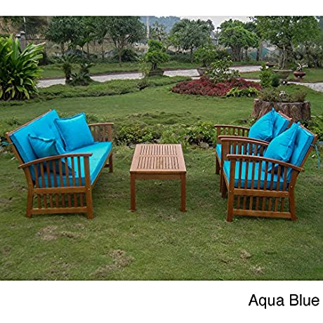Royal Tahiti Phuket Settee Set With Cushions And Four 18 Inch Throw Pillows Aqua Blue