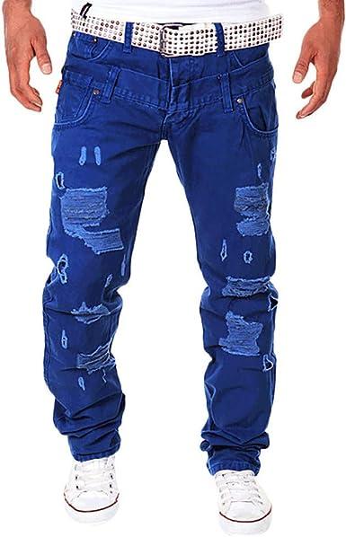 Pantalones Vaqueros Pantalones De Para Hombre Carga Pantalones De Mode De Marca Moda Para Hombre Estiramiento Casual Solido Patchwork Suelto Pantalones Con Agujeros Rasgados Pantalones De Carga Jeans Amazon Es Ropa Y Accesorios