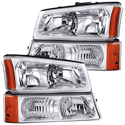 RXMOTOR HL-CH912030CA 2003-2006 Chevrolet Silverado 1500 2500 3500 Headlights - [Factory Style] - Metallic Chrome Housing, Driver and Passenger Side