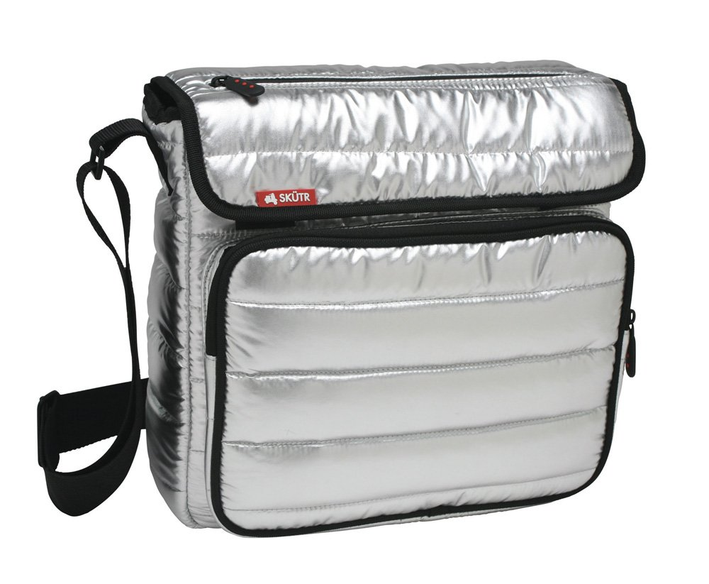 Skutr 8.5x11'' Messenger + Tablet Puffy Jacket Nylon Bag, Silver