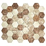 Hexacycle Tan Noce - Patterned Brown and Beige Hexagon Recycled Glass Tile for Backplashes, Wall, Floors (Box of 11 Sheets)