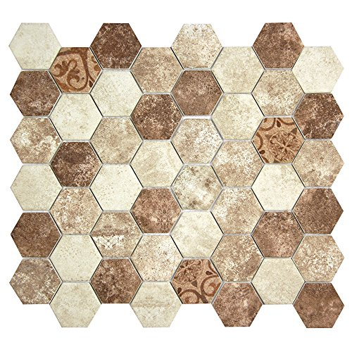 Patterned Brown and Beige Hexagon Recycled Glass Tile for Backplashes, Wall, Floors (4 x 6 Inch Sample) (Recycled Glass Floor Tile)