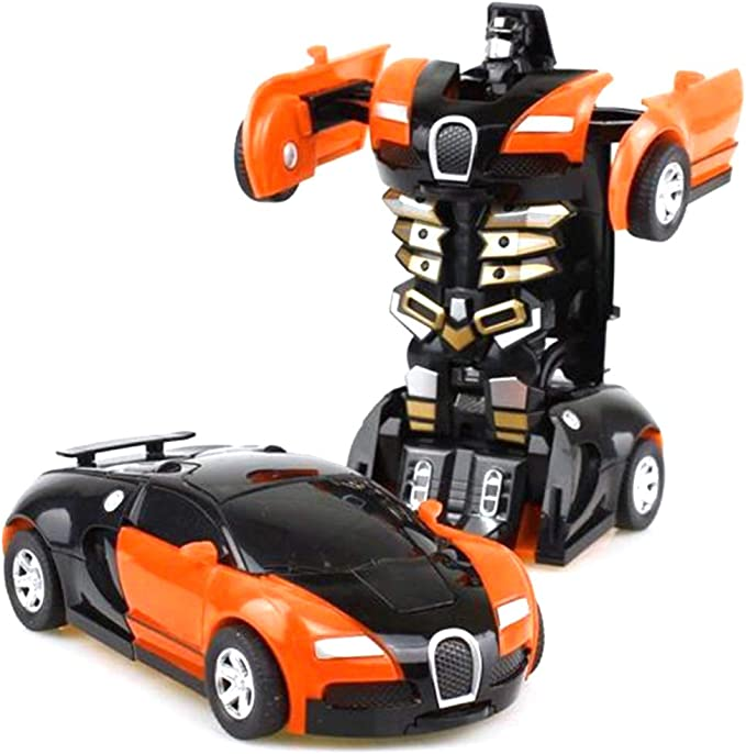 2 en 1 Amusement Ensemble Cr/éatif Construction Jouets De Construction Voiture Jouet Robot Enfant en Bas /âge Auto Robots Cool Jouet Orange HEITIGN Voiture Robot Transformant Jouet pour Enfants