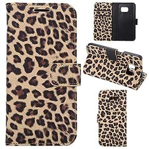 Samsung S7 funda , Samsung SM-G930 funda , Lifetrut® [ marrón ] [Ranura para tarjeta] [Slim Fit] [PU] leopardo de la manera del tirón magnético Snap Case funda para Samsung SM-G930