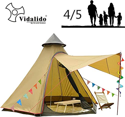 Vidalido 12'x10'x8'Dome Camping Tent 5-6 Person 4 Season Double Layers Waterproof Anti-UV Windproof Tents Family Outdoor Camping Tent
