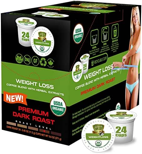 SOLLO Dark Roast Weight Loss Coffee Pods Compatible With 2.0 K-Cup Keurig Brewers, Diet Slim Coffee, Suppress Appetite, Slimming and Cleaning 100% Arabica With Herbal Extracts, USDA Organic, 24 Count