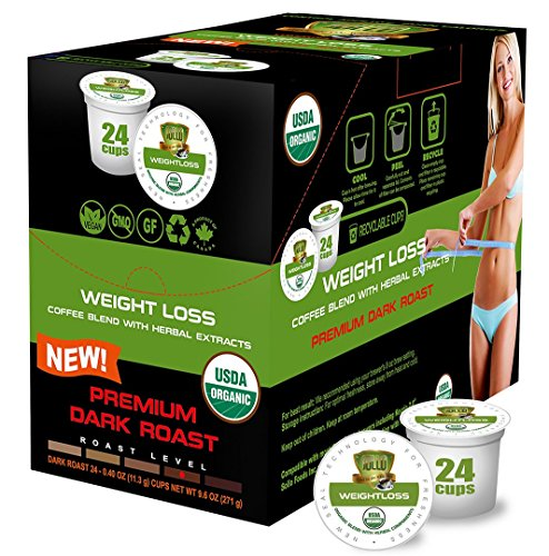 SOLLO Dark Roast Weight Loss Coffee Pods Compatible With 2.0 K-Cup Keurig Brewers, Diet Suppress Appetite, Slimming Artisan 100% Arabica COFFEE, Strong Antioxidant, USDA Organic, 24 Count