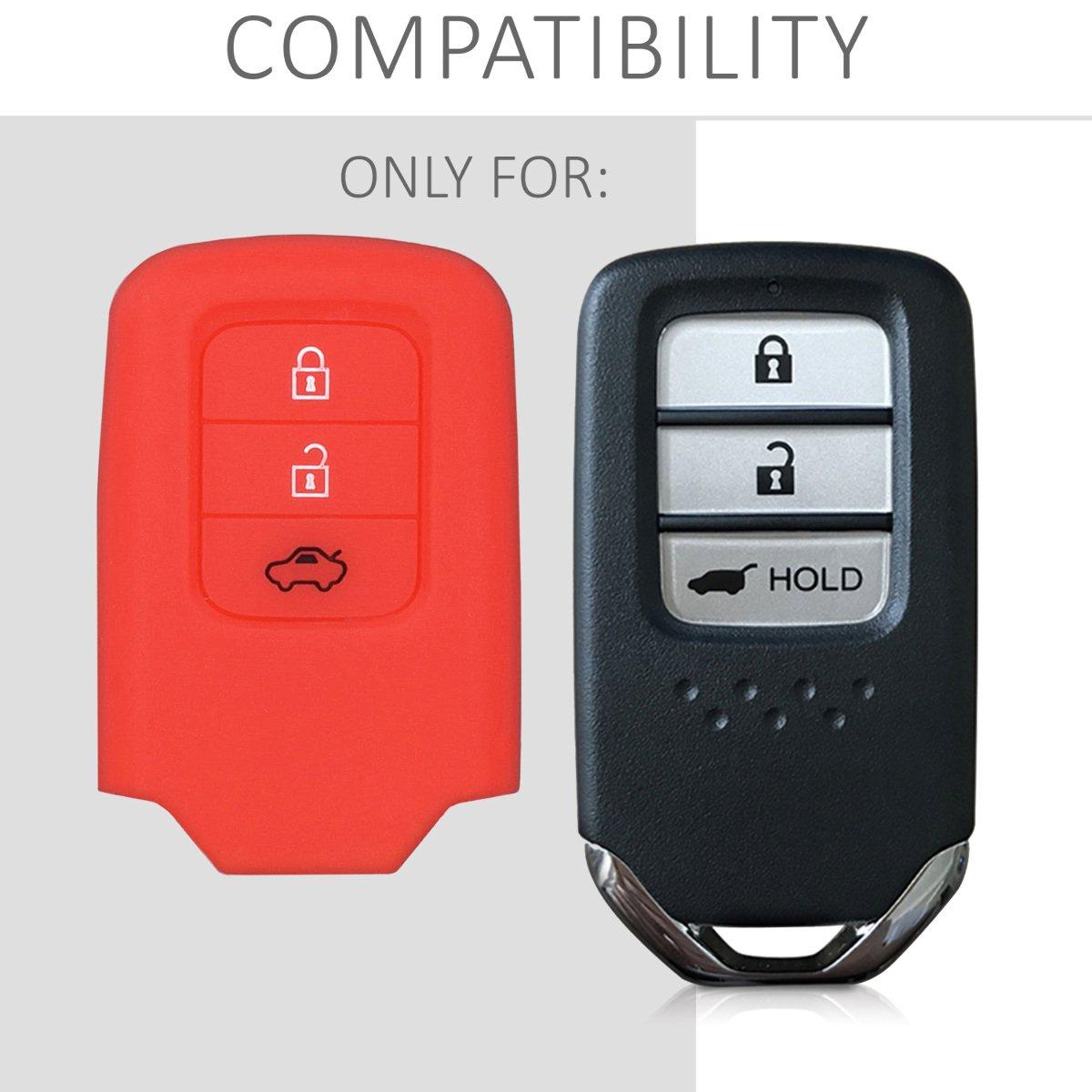kwmobile Accessoire cl/é de Voiture pour Honda /Étui de Protection Souple Coque pour Clef de Voiture Honda 3-Bouton en Silicone Noir Keyless Uniquement