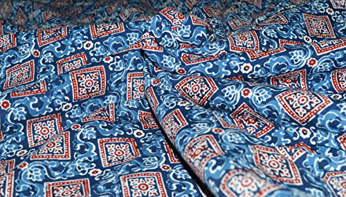 Indian Handmade Sanganeri Screen Print 100% Cotton Square Red Blue Flower Printed Fabric Dressmacking Fabric Art & Craft Fabric Patch Work Fabric Home Décor Fabric 10 Yard Fabric Sold by