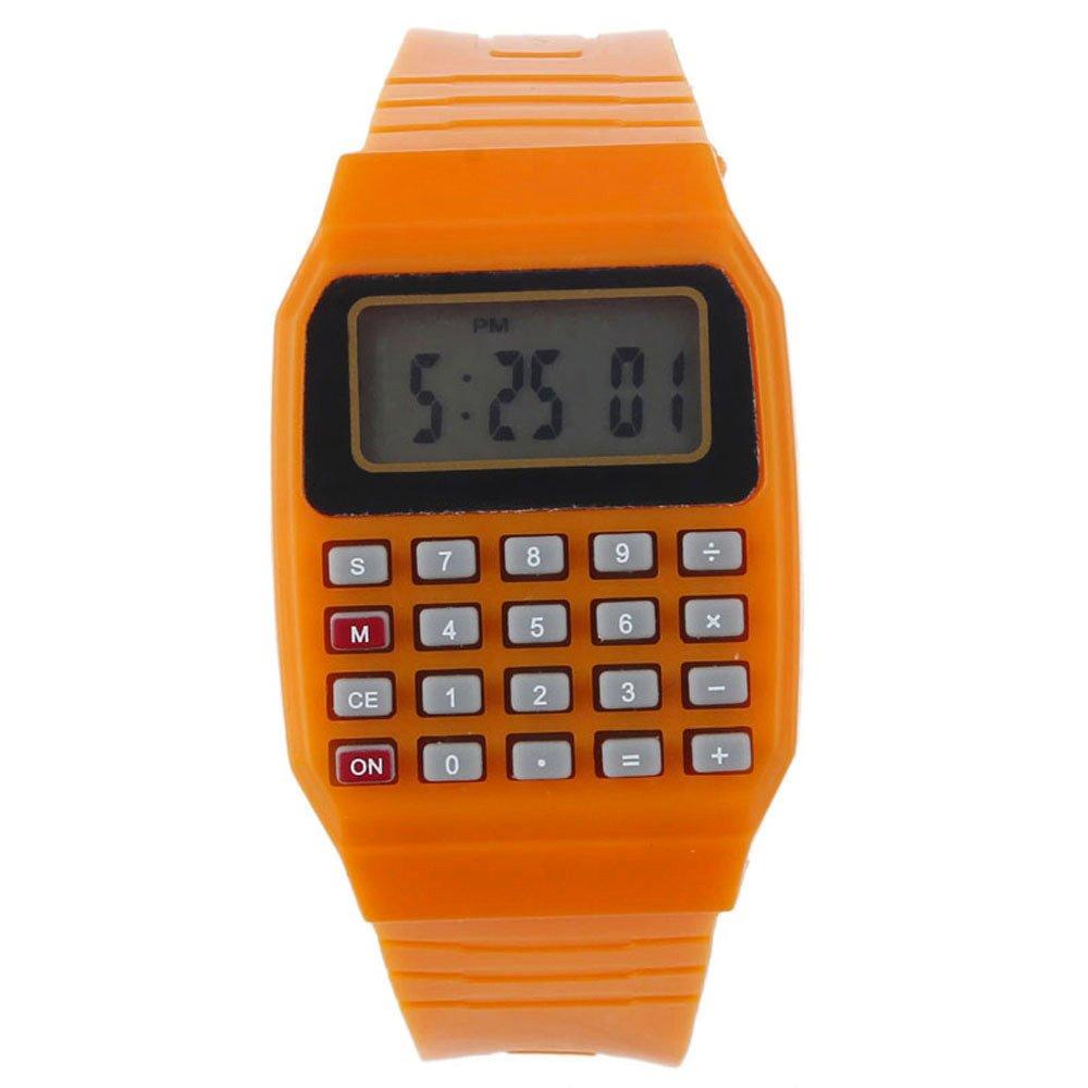 Dreamanユニセックスシリコン多目的日付時間計算機functionelectronic手首マルチカラーウォッチ S ブラック B07C2S3L21 オレンジ
