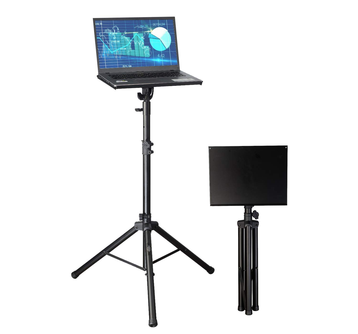 Professional Adjustable 32.3'' - 52'' Laptop DJ Mixer Tripod Stand | Lightweight & Portable 15.3'' x 12.2'' Tilted Tri-Pod Tray for Processors, Audio Controllers & Tablets | Raised Edges for Protection by STARUMENT (Image #3)