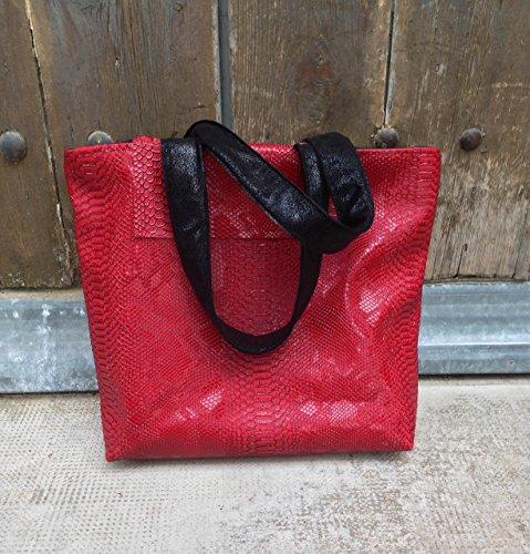 dea-concept femme sac cabas cuir rouge