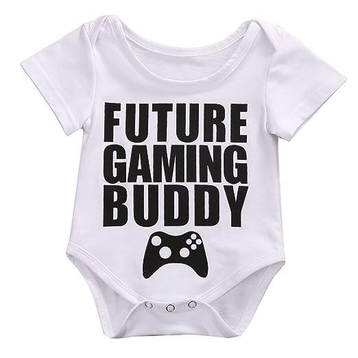 2ad5fe970 Newborn Baby Girl Boy Short Sleeve Funny Bodysuit Summer Romper Outfit White  (0-3