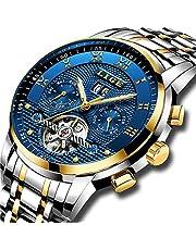 LIGE Herren Uhren Automatische Mechanische Edelstahl wasserdichte Armbanduhr Skeleton Tourbillon Uhr