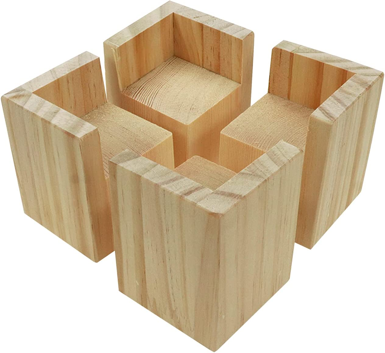 HONJIE Set of 4 Bed Risers Furniture Square Risers 2 Inches Wooden Solid Wood Original Color For DIY Painting Sofa Couch Chair Table Increase Legs