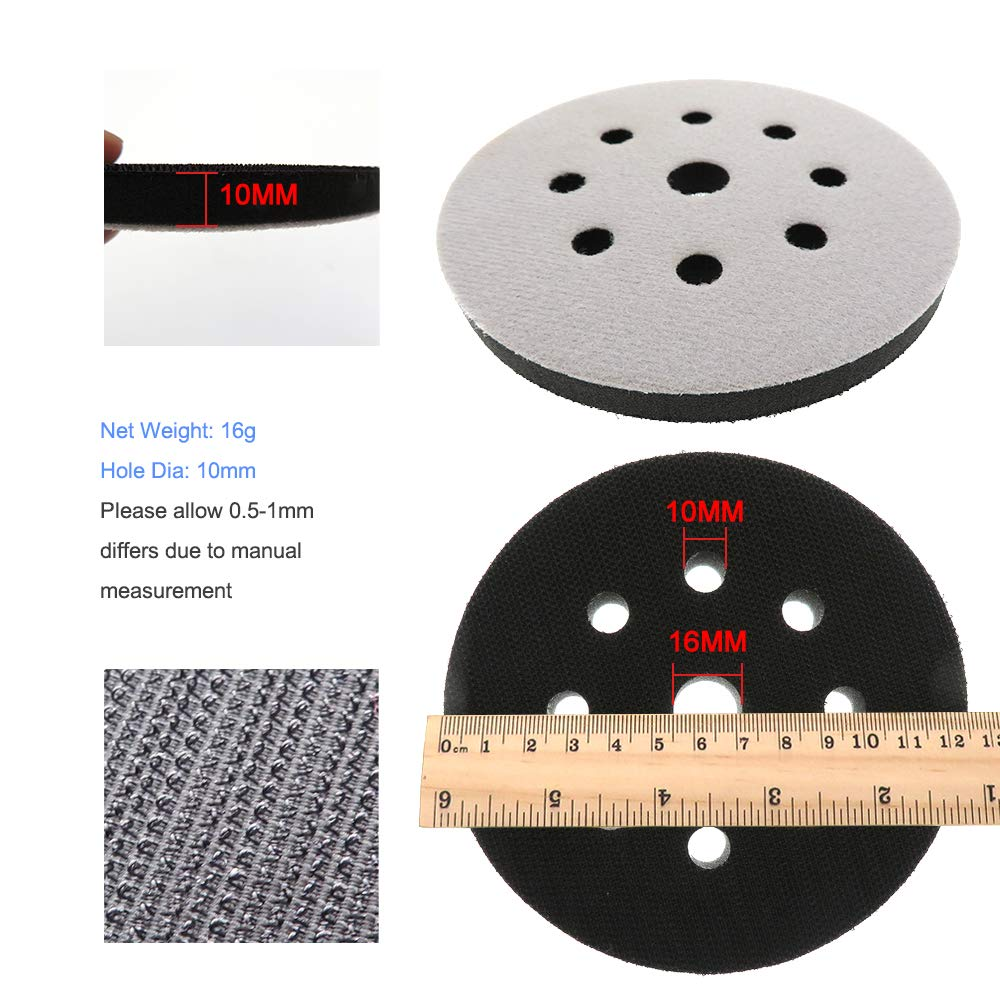Soft Interface Pad 5 Inch 125mm 9-Hole Sanding Disc Backing Pad Pack of 5 Hook and Loop