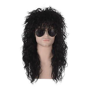 Costume Wig | Qaccf 80s Wigs Halloween Costumes Male Rock Wig Long Culry Punk Heavy Metal Mullet Wig (Black)