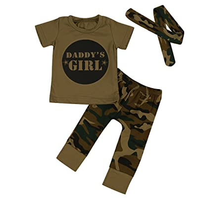 2 Style Daddy's Baby Boy Girl Camouflage Outfits Letters T-Shirt Camo Pants Set