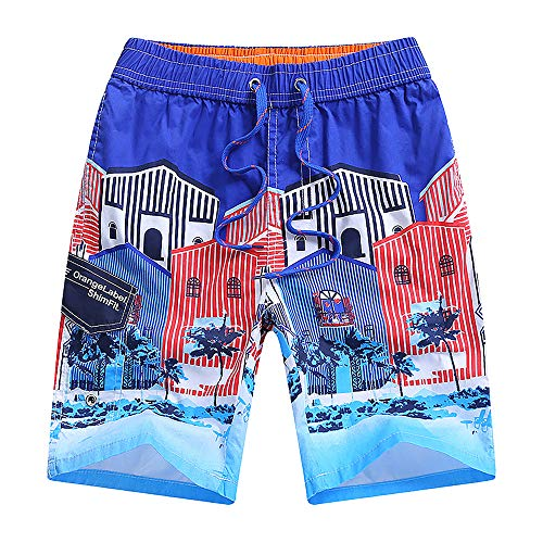 (Boys Teens Swim Trunks, Quick Dry Surfing Beach Sports Running Swim Shorts with Drawstring 6T to 18/20 (14/16, Blue) )