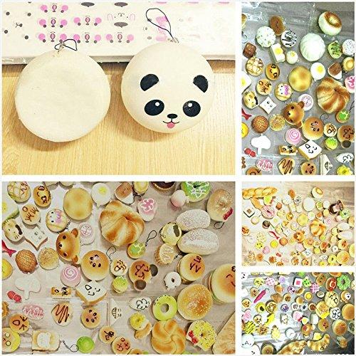 EVINIS 20Pcs Jumbo Medium Mini Random Squishy Soft Panda/Bread/Cake/Buns Phone Straps (20 Pcs) by EVINIS (Image #6)