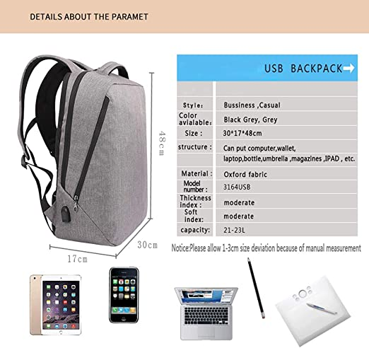 PUAG Backpacks Backpack New Men Anti-Theft External USB Charge ...