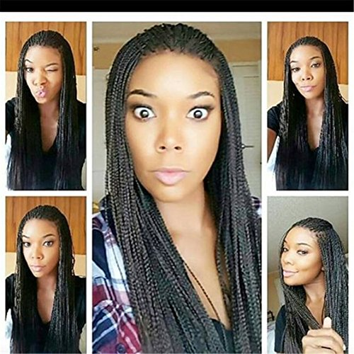ATOZWIG Glueless African American Women Wig with Thin Micro Braids Synthetic Hair Braided Lace Front Wig in (Braid Wigs)