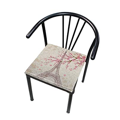 "Bardic HNTGHX Outdoor/Indoor Chair Cushion Eiffel Tower Plum Blossom Square Memory Foam Seat Pads Cushion for Patio Dining, 16"" x 16"": Home & Kitchen"