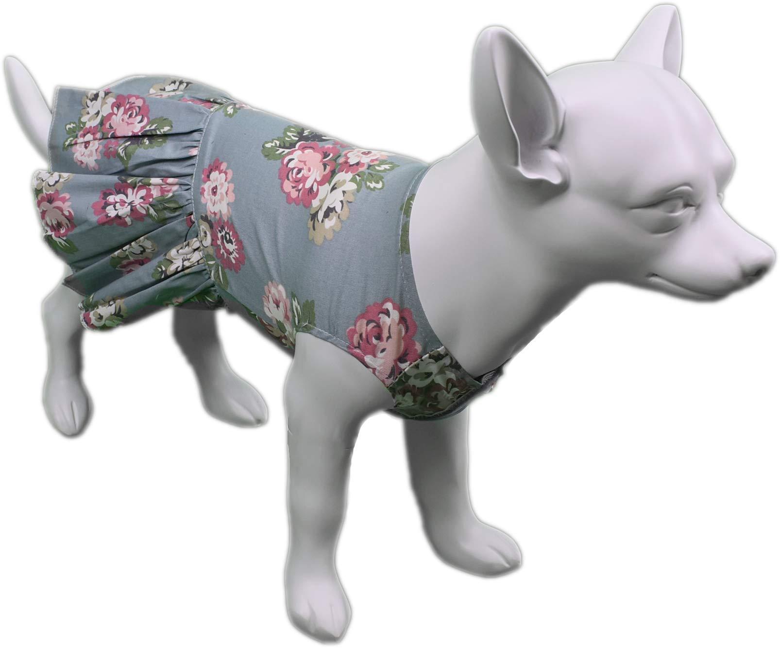 Flower Print Dog Dress in Blue (X-Small)