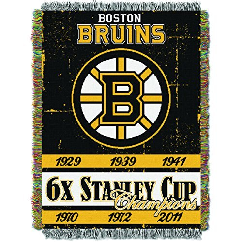 Northwest 051 Boston Bruins NHL Championship Commemorative Woven Tapestry Throw -