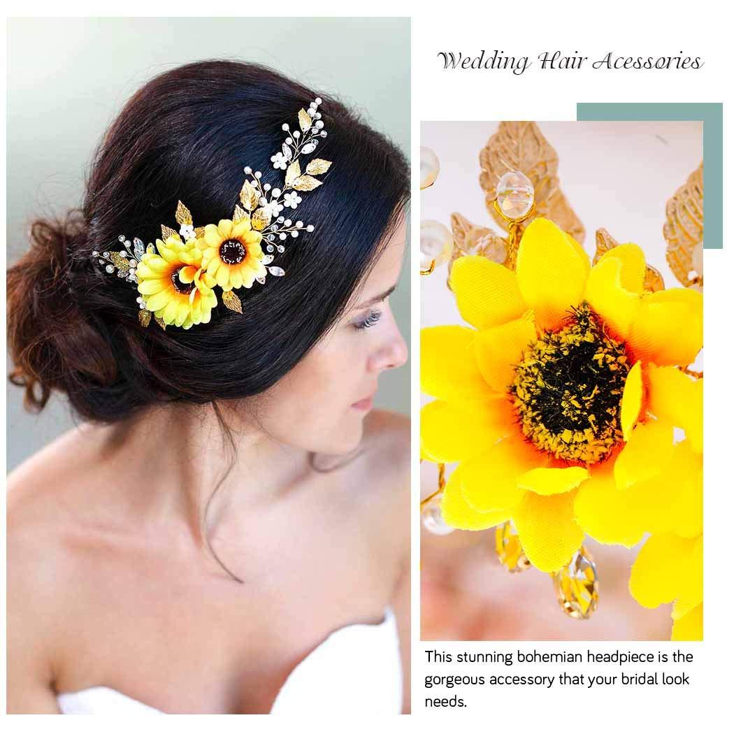 Amazon.com: Barogirl - Diadema para novia, diseño de girasol ...